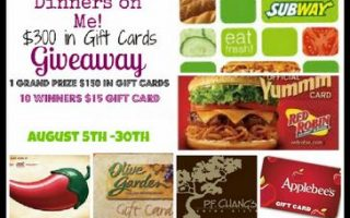 Dinner's on Me! $300 in Restaurant GC's Giveaway
