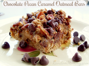 Chocolate Pecan Caramel Oatmeal Bars