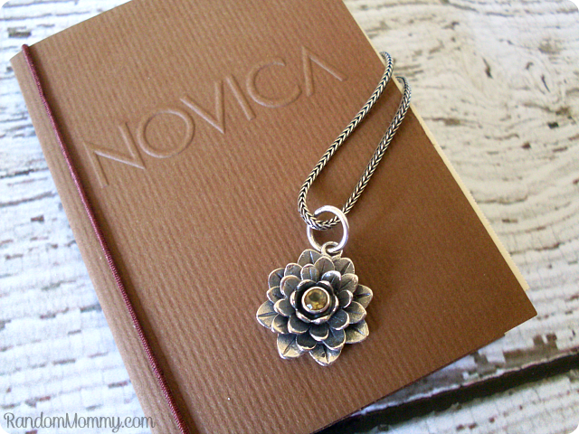 Novica Sacred Golden Lotus necklace